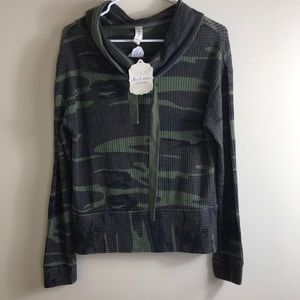 NWT Altar'd State Camo Green Cowl Neck Sweater